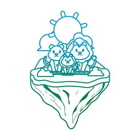 degraded line family lion animal in float island vector illustration