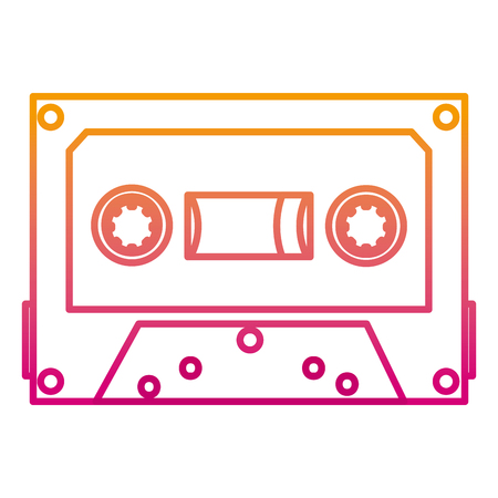 degraded line retro cassette stereo audio tape Illustration