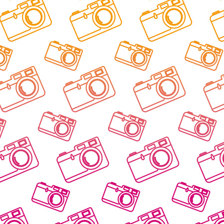 degraded line retro focus camera equipment background vector illustration