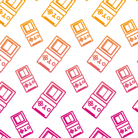 degraded line hand tetris videogame console background vector illustration