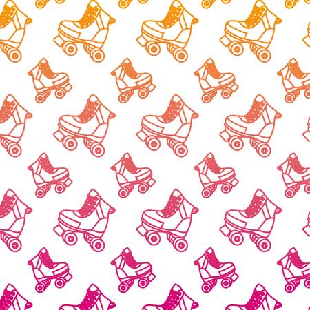 Ligne dégradée patin à roulettes fun art background vector illustration