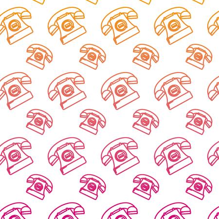 degraded line retro ring telephone call background vector illustration