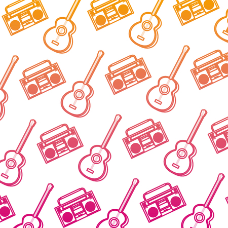 degraded line play guitar and retro radio background vector illustration