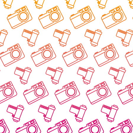 degraded line retro strip royo and camera background vector illustration