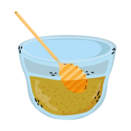 bowl with delicious honey product and dipper vector illustration