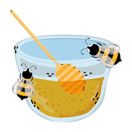bowl honey with bees animals and dipper vector illustration