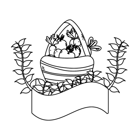 line fruits and vegetables inside hamper and plant branches vector illustration