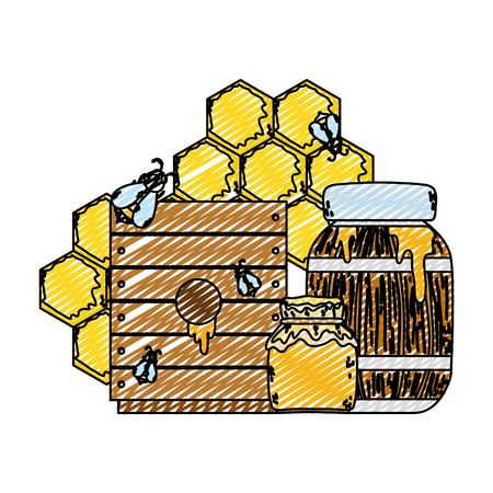 doodle bottle with honey conservation products with bees vector illustration