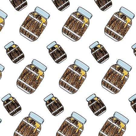 おいしい蜂蜜背景ベクトルイラスト付きの落書き木材ボトル