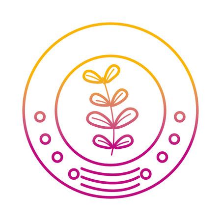 degraded line ecology emblem sticker with plant icon Ilustrace