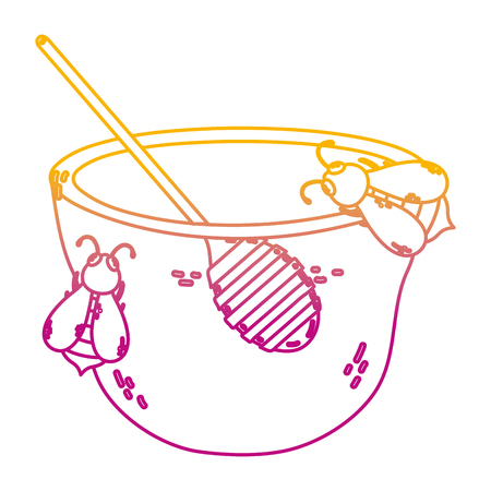 degraded line bowl honey with bees animals and dipper vector illustration