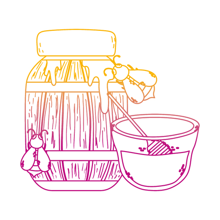 degraded line wood bottle and bowl with honey and bees vector illustration