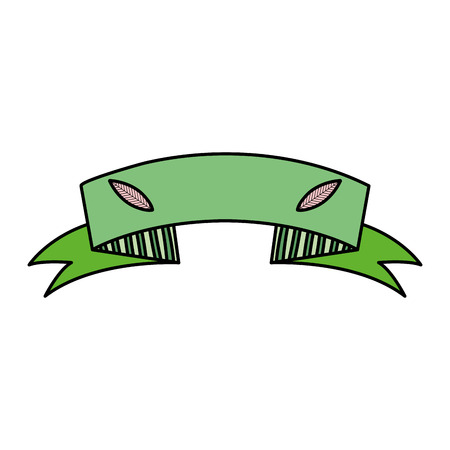 color ecology ribbon with leaves decoration design Illustration