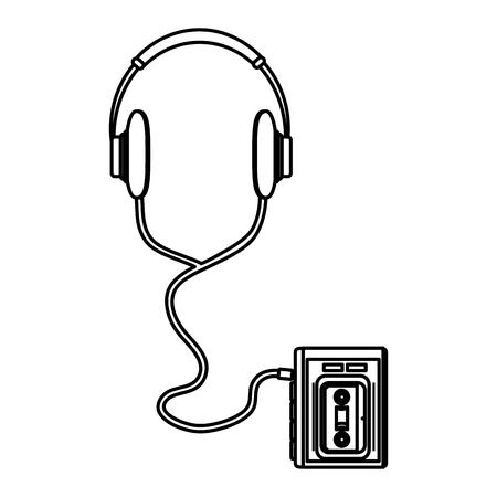 line headphones listen cassette music technology vector illustration