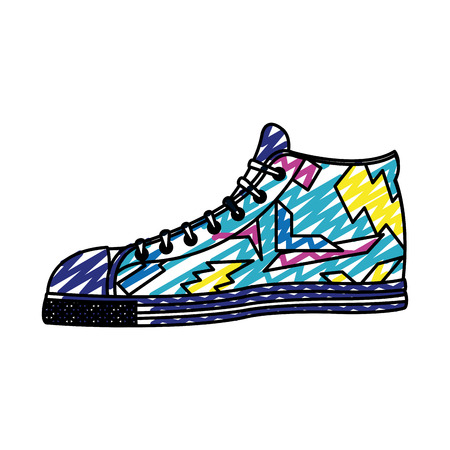 doodle fashion sneaker confortable shoes style vector illustration