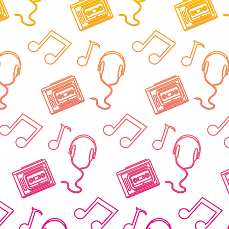 degraded line headphones with cassette and music notes background vector illustration