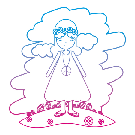 degraded line hippie woman with flower in the head and dress vector illustration