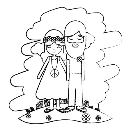 grunge cute hippie love couple in the landscape vector illustration