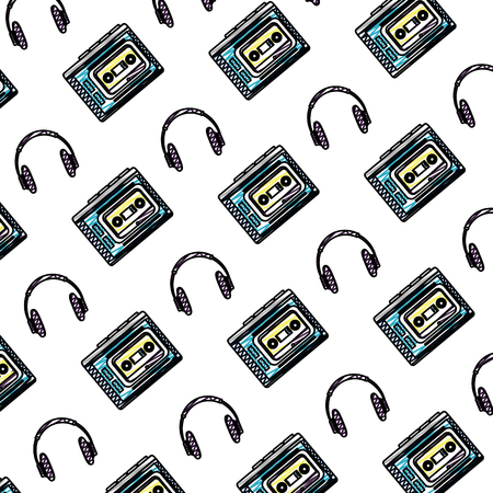 doodle headphones technology and plastic cassette background vector illustration Иллюстрация