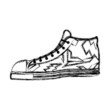 grunge fashion sneaker confortable shoes style vector illustration Фото со стока - 111693852