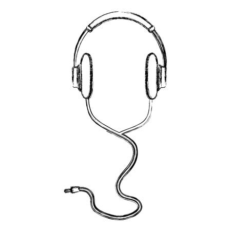 grunge stereo headphones listen music technology vector illustration