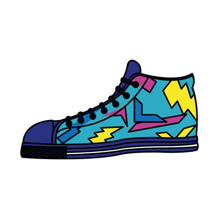 color fashion sneaker confortable shoes style vector illustration