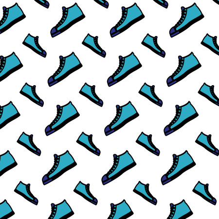 color fashion sneaker confortable shoes background vector illustration