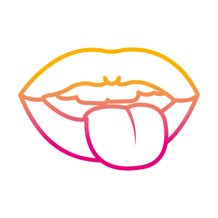 degraded line funny mouth with teeth and tongue sign vector illustration
