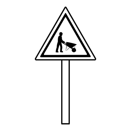 line triangle caution emblem and laborer with wheelbarrow Illustration