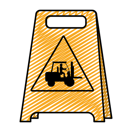 doodle plastic caution emblem and laborer with forklift vector illustration