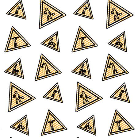 doodle triangle caution emblem to industry maintenance background Banque d'images - 107035847