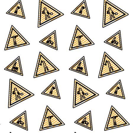doodle triangle caution emblem to industry maintenance background