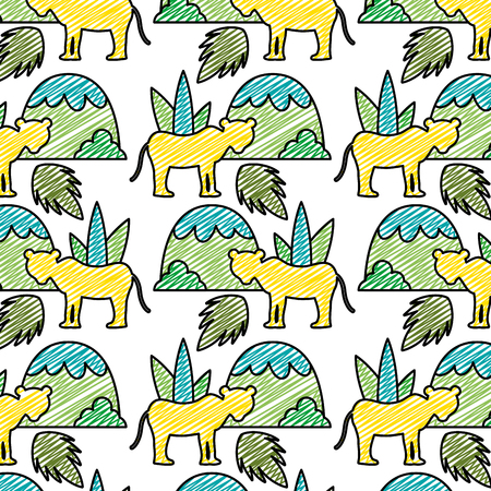 doodle lion with plant leaves and mountains background vector illustration