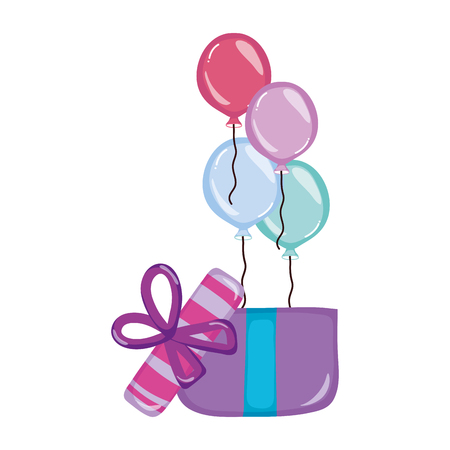 balloons with present gift birthday party vector illustration