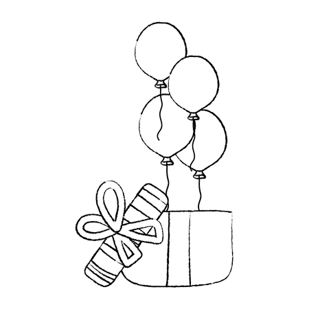 grunge balloons with present gift birthday party vector illustration 矢量图像
