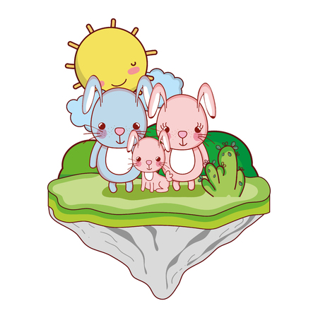 family rabbit animal in the float island vector illustration