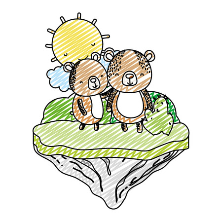 doodle couple bear animal in the float island vector illustration