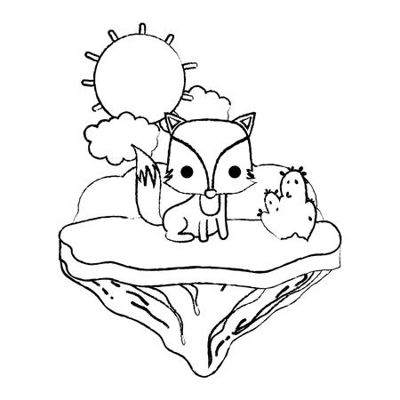 grunge nice fox animal in the float island vector illustration 일러스트