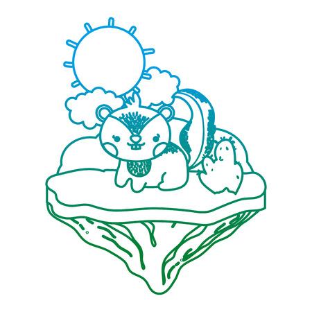 degraded line tender chipmunk animal in the float island vector illustration