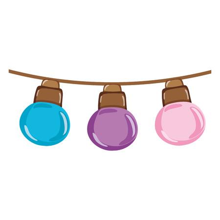 nice bulbs hangings decoration style vector illustration