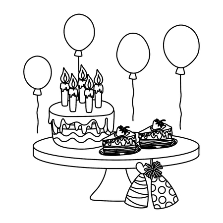 line birthday party cakes with hats and balloons vector illustration