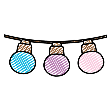 doodle nice bulbs hangings decoration style vector illustration Illustration