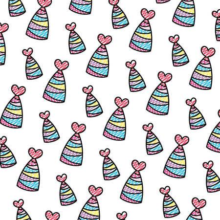 doodle party hat with lines and heart decoration background vector illustration  イラスト・ベクター素材