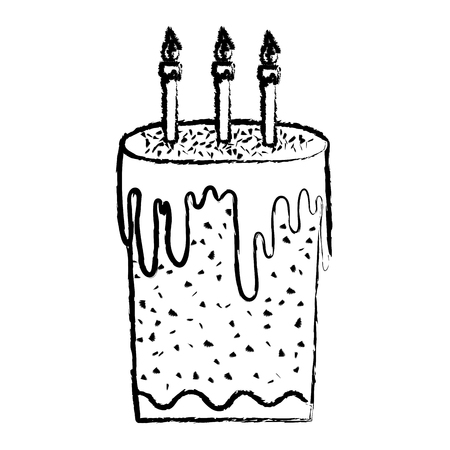 grunge sweet cake with burning candles style vector illustration Vettoriali
