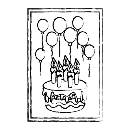 grunge frame with cake candles and balloons birthday vector illustration