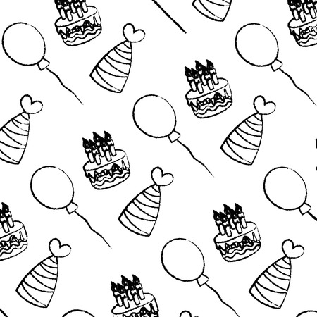grunge cake candles with hats and balloons background vector illustration Illustration