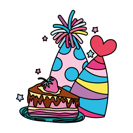 color party hats with sweet cake birthday vector illustration 矢量图像