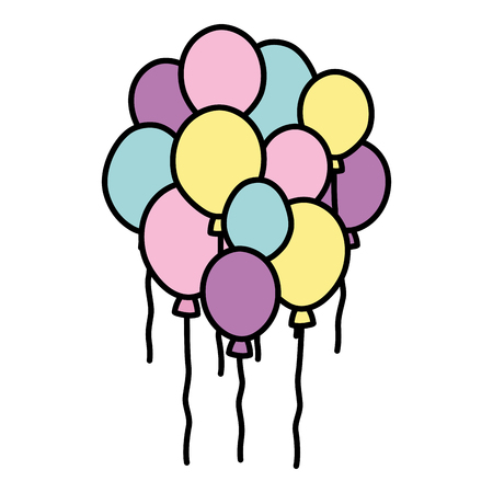 color cute balloons party decoration design vector illustration  イラスト・ベクター素材