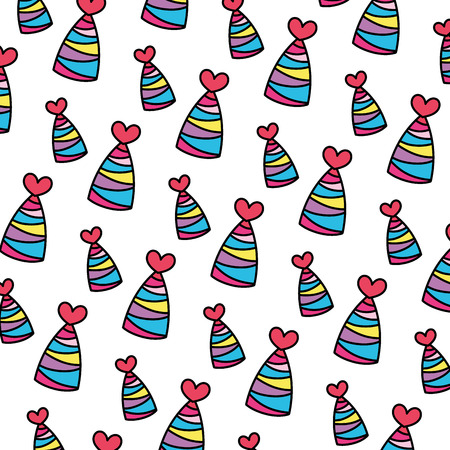 color party hat with lines and heart decoration background vector illustration