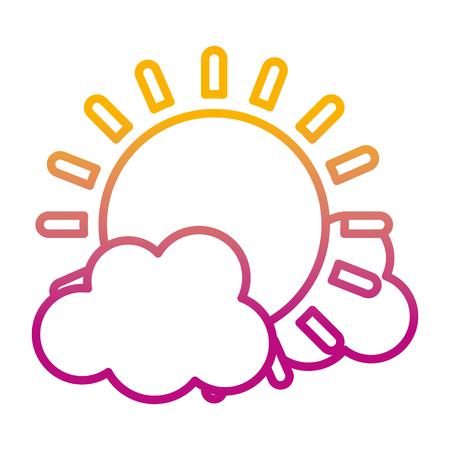 degraded line light sun spring weather with clouds vector illustration Ilustração